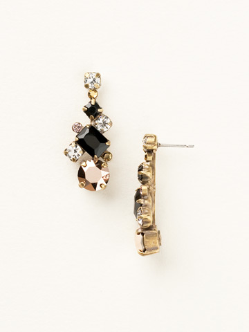 Glittering Multi-Cut Crystal Earring in Antique Gold-tone Black Fringe
