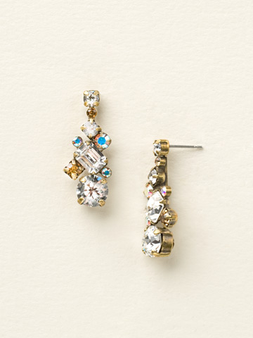 Glittering Multi-Cut Crystal Earring in Antique Gold-tone Neutral Territory
