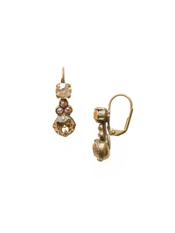 Clustered Circular Crystal Drop Earring in Antique Gold-tone Neutral Territory