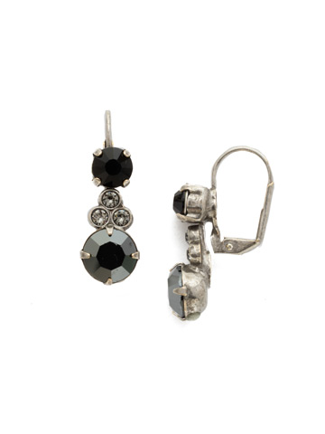 Clustered Circular Crystal Drop Earring in Antique Silver-tone Black Onyx