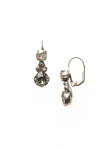 Clustered Circular Crystal Drop Earring in Antique Silver-tone Crystal Rock