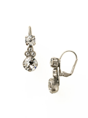 Clustered Circular Crystal Drop Earring in Antique Silver-tone Crystal
