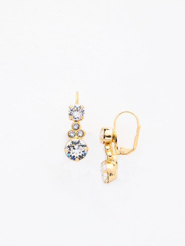 Clustered Circular Crystal Drop Earring in Bright Gold-tone Crystal