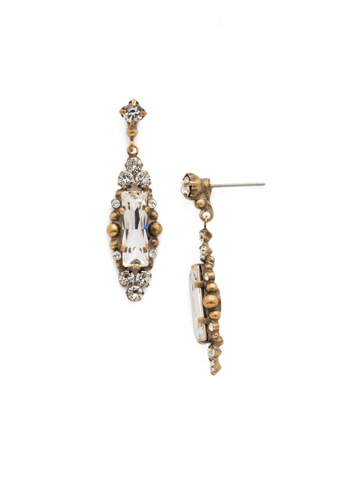 Crystal Bar Drop Earrings in Antique Gold-tone Crystal