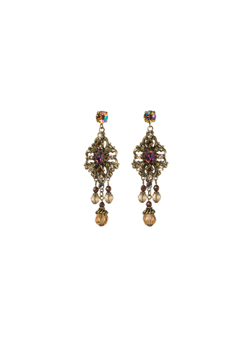 Double Loop Filigree Chandelier Earring in Antique Gold-tone Tapestry