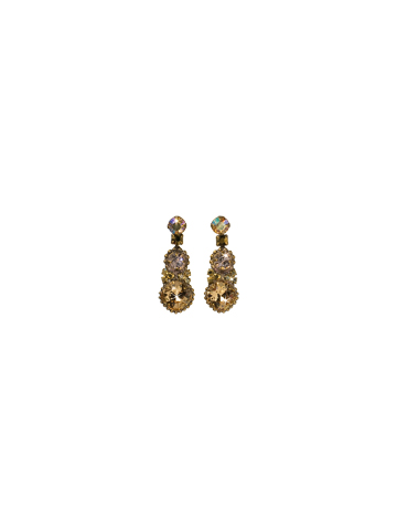 Double Happiness Drop Earring in Antique Gold-tone Raw Sugar