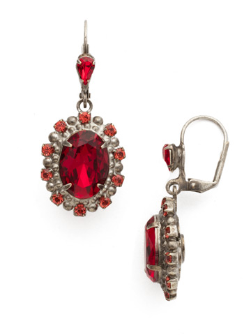 Canna Earring in Antique Silver-tone Red Ruby