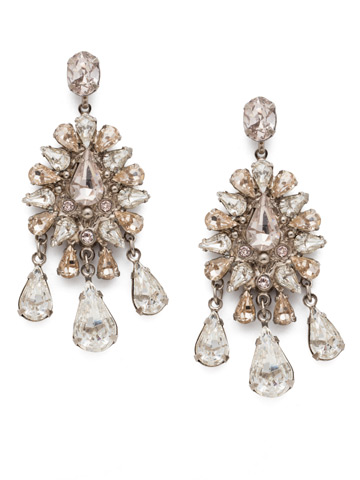 Dripping In Crystals Chandelier Earring in Antique Silver-tone Soft Petal