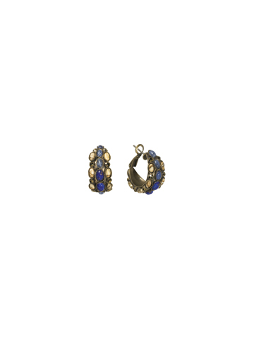 Greatly Global Hoop Earring in Antique Gold-tone Blue Jean Dream