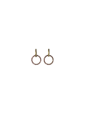 Modern Open Circle Earring in Antique Gold-tone Pink Orchid