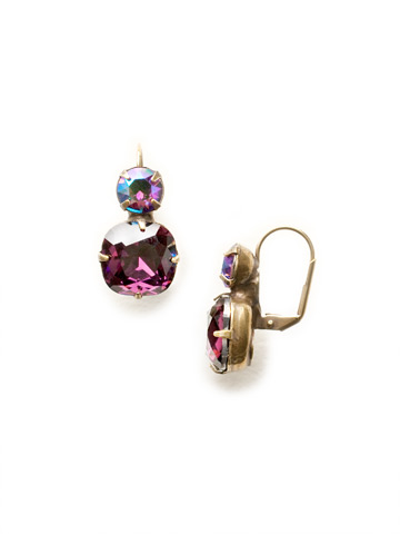 On the Edge Earring in Antique Gold-tone Amethyst