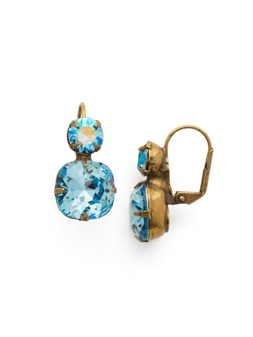 On the Edge Earring in Antique Gold-tone Aquamarine