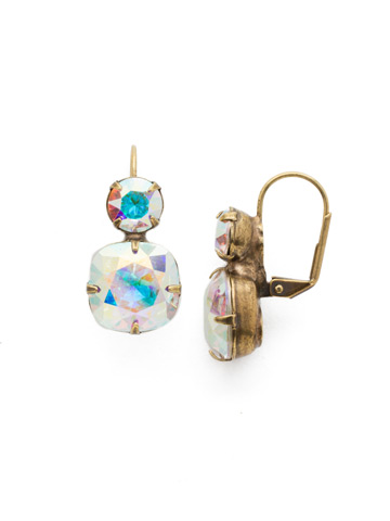 On the Edge Earring in Antique Gold-tone Crystal Aurora Borealis