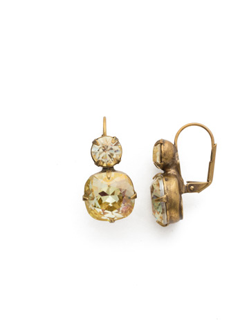 On the Edge Earring in Antique Gold-tone Crystal Champagne