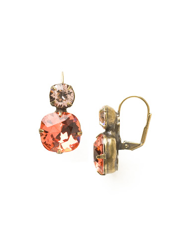On the Edge Earring in Antique Gold-tone Coral