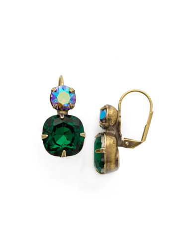 On the Edge Earring in Antique Gold-tone Emerald