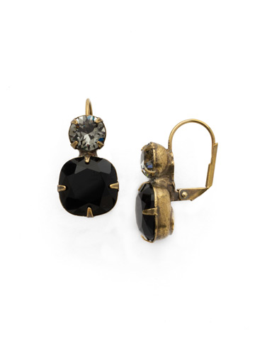 On the Edge Earring in Antique Gold-tone Jet