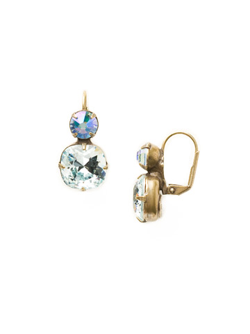 On the Edge Earring in Antique Gold-tone Light Aqua