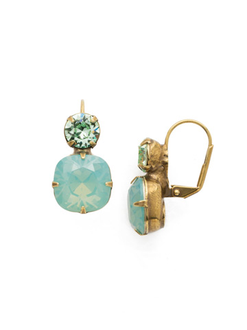 On the Edge Earring in Antique Gold-tone Pacific Opal