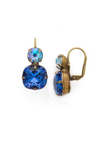 On the Edge Earring in Antique Gold-tone Sapphire