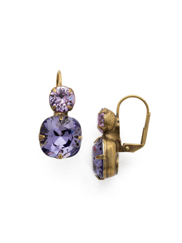 On the Edge Earring in Antique Gold-tone Violet
