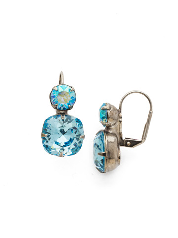 On the Edge Earring in Antique Silver-tone Aquamarine
