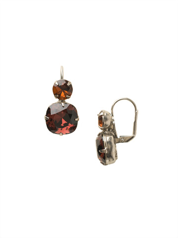 On the Edge Earring in Antique Silver-tone Burgundy