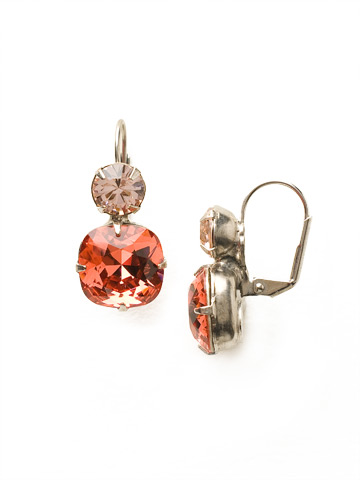 On the Edge Earring in Antique Silver-tone Coral
