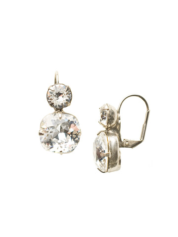 On the Edge Earring in Antique Silver-tone Crystal