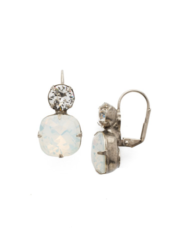 On the Edge Earring in Antique Silver-tone White Opal