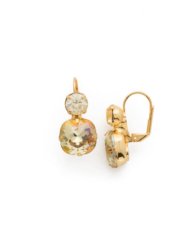 On the Edge Earring in Bright Gold-tone Crystal Champagne