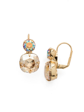 On the Edge Earring in Bright Gold-tone Dark Champagne