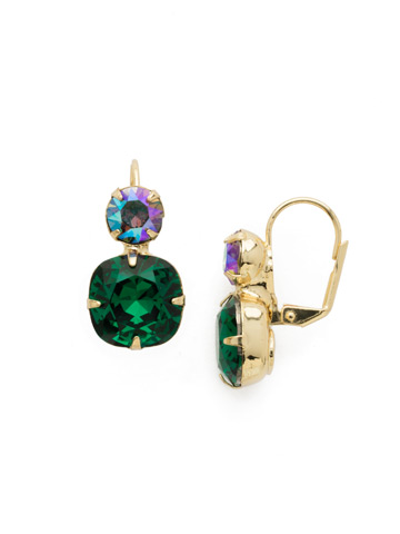 On the Edge Earring in Bright Gold-tone Emerald