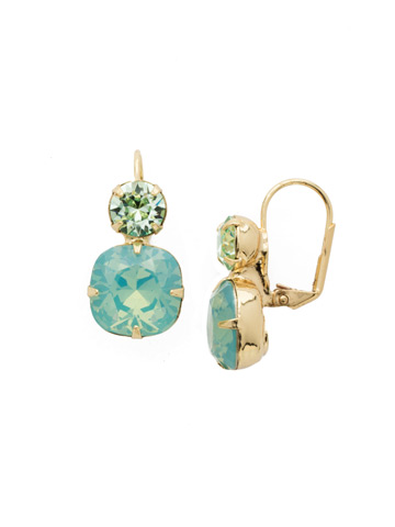 On the Edge Earring in Bright Gold-tone Pacific Opal