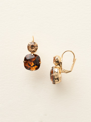 On the Edge Earring in Bright Gold-tone Smoke Topaz