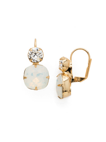On the Edge Earring in Bright Gold-tone White Opal