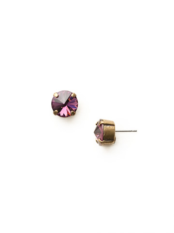 Round Crystal Stud Earring in Antique Gold-tone Amethyst