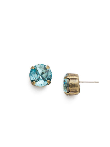 Round Crystal Stud Earring in Antique Gold-tone Aquamarine