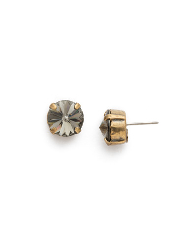 Round Crystal Stud Earring in Antique Gold-tone Black Diamond