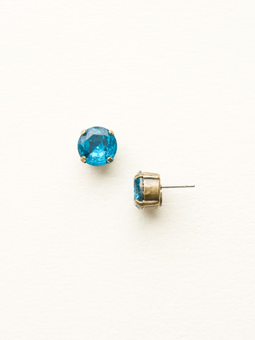 Round Crystal Stud Earring in Antique Gold-tone Blue Topaz