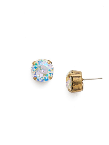Round Crystal Stud Earring in Antique Gold-tone Crystal Aurora Borealis
