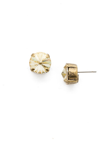 Round Crystal Stud Earring in Antique Gold-tone Crystal Champagne