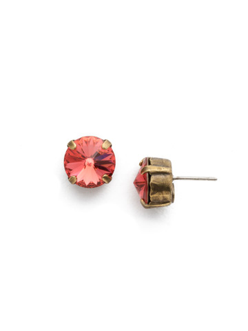 Round Crystal Stud Earring in Antique Gold-tone Coral