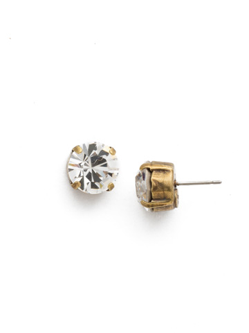 Round Crystal Stud Earring in Antique Gold-tone Crystal