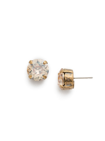 Round Crystal Stud Earrings in Antique Gold-tone Dark Champagne