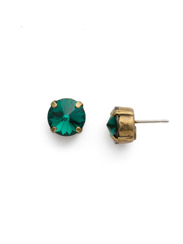 Round Crystal Stud Earring in Antique Gold-tone Emerald