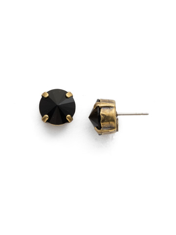 Round Crystal Stud Earrings in Antique Gold-tone Jet