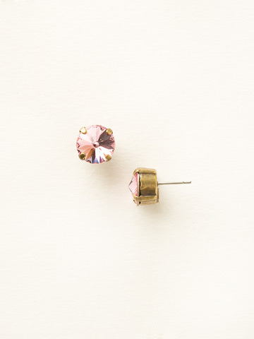 Round Crystal Stud Earring in Antique Gold-tone Light Rose