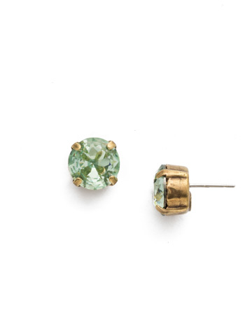 Round Crystal Stud Earring in Antique Gold-tone Mint