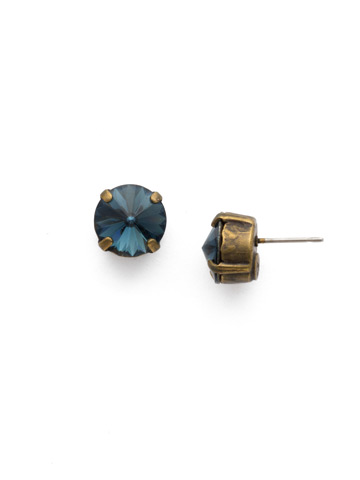 Round Crystal Stud Earring in Antique Gold-tone Montana